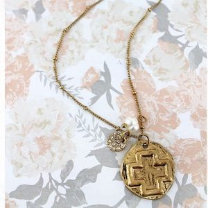 🆕Square Cross & Crystal Disk Charm Necklace